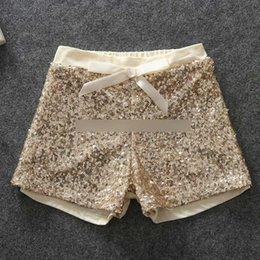 Wholesale Fashion children shorts girls sequins shorts bling bling hot pants Bow princess shorts gold hot pink A5430
