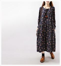 Woman Dress Winter 2015 Floral Printed Long Maxi Dress Casual Loose Long Sleeve O Neck Mori Girl Cotton Linen Dress Plus Size