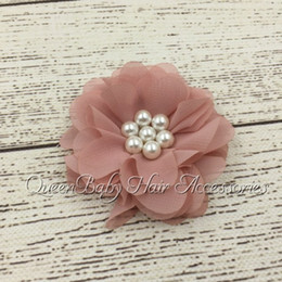 """2.5"""" Beaded Chiffon Flower Matching Sparking Pearl in Center Hair Accessories Flat Back 24pcs lot"""