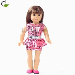 Wholesale Handmade American Girl Doll clothes and accessories pink square lattice reflective miniskirt Fit inch American Girl doll best gifts