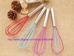 100pcs a lot 10 inch silicone coated egg whisk eggbeater stainless steel handle kitchen gadget , free ship