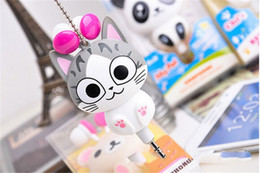 Wholesale Cartoon earphone automatic retractable Headphones for mobile phone computer cartoon cat headset in ear stereo headphone with retail box