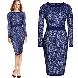 Free shipping Ladies Lace Floral Bodycon Cocktail Party Evening Office Tea Pencil Dresses Long Sleeve Elegant fashion 3039