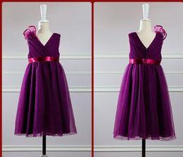 Modern A Line V Neck Tea length Draping Tulle Flower bridesmaid dresses Flower Girls' Dresses pgeant Girls Gowns