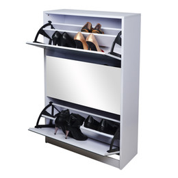 Wholesale Mirrored Shoe Cabinet Rack Wooden Shoe organizer Box with Rotating Doors Stock in USA