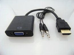 Wholesale Hot New HDMI to VGA Data Cable with Audio Cable Video Converter Adapter For Xbox PS3 PC360 DHL