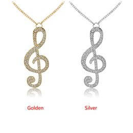 Fashion new arrival Full rhinestone fashion jewelry Crystal Clear Music Note Long Necklace Necklaces for women