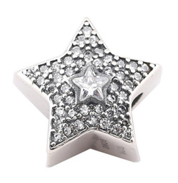 100% Sterling Silver Charms 925 Ale Rhinestone Star European Charms for Pandora Bracelets DIY Beads Accessories