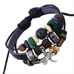 Wholesale New Arrival DIY Handmade Infinity Personality Fashion Dangle Retro Dragonfly Charm For Men Beaded Leather Bracelets Jewelry