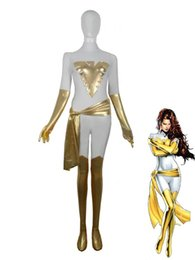 White & Gold X-men Phoenix Superhero Costume Halloween Party Cosplay Zentai Suit