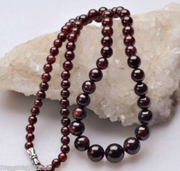 Charming!5-11MM NATURAL GARNET ROUND BEADS NECKLACE 17""