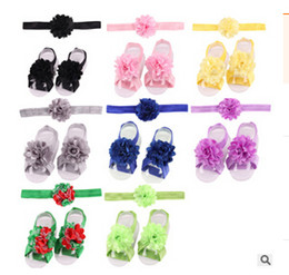 New European leg lace hair band satin mesh flower trade baby hair accessories foot strap suit 10set