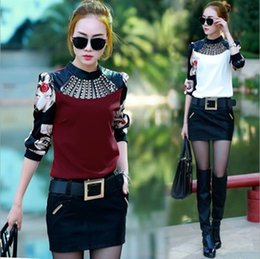 2016 New Women Clothes Fashion Print Patchwork Diamond Long-sleeved Women T-shirt Ladies Tops Blouses Slim Sheer Winter Blouses for Women