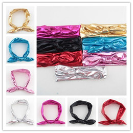 7colors 2015 New Hot Elastic Blend Baby Headbands Girl Hair Bunny Ears Headband Gilding Bow Strechy Knot Headwear Children Hair Accessories