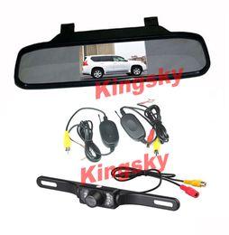 Wholesale Wireless Car Rear View Kit quot Car LCD Mirror Monitor Waterproof IR LED Night vision Reversing Parking Backup Camera