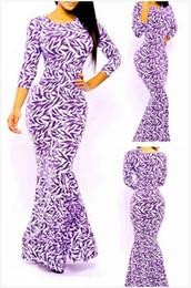 Племенные печатные издания для продажи-Свободная перевозка груза 2015 новый сексуальный Женщины партии Royal Племенной Русалка Листья печати Макси платье NA6871 Размер M / L Вскользь платье Vestidos