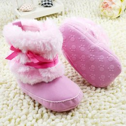 Wholesale Baby Kids Bowknot Boots Toddler Fleece Boots Furry Baby Snow Crib Shoes