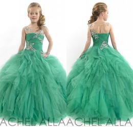 Beauty Glitz Girls Pageant Dresses Princess Tulle Beaded Green One Sleeve Children Kids Flower Girl Dresses
