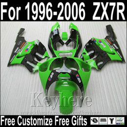 Wholesale Hot sale motorcycle fairings for Kawasaki ZX7R green black fairing kit ZX7 Ninja ZX750 MNA87