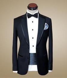 Wholesale 2016 Best Selling Black Mens Wedding Suits Custom Made Slim Fit Wedding Groom Tuxedos Bridegroom Jacket Pants Tie Waist