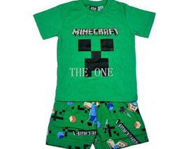 Wholesale New Minecraft Creeper Inside Officially Licensed Kids Youth T Shirt Boy Funny Game T shirt Top Tees t shirt short suits