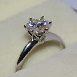 FG Solid 14k 585 White Gold CHARLES&COLVARD Brand 1 CT Moissanite Simple Classic Wedding&Engagement Ring Solitare 2.5g