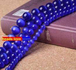 Elija Tamaño 4.6.8.10 12MM lisos oscuros gatos azules Cuentas Ojo de Piedra Natural Spacer perlas sueltas 15.5
