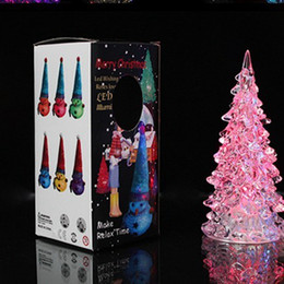 Christmas Ornament Christmas Tree Ice Crystal Colorful Changing LED Desk Decor Table Lamp Light Happy New Year
