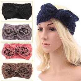 Winter New fashion women Wool Knitted Headbands Lovely rabbit ears Turban Headband Crochet Elastic Hair Bands 2015 Ladies ear warmer D705J