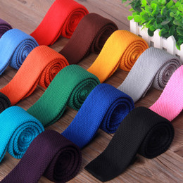 Men Knitting Flat-end Neck Ties 20 colors 145*5cm Men's Narrow Neck Ties Solid color Necktie for Men's business tie Christmas Gift