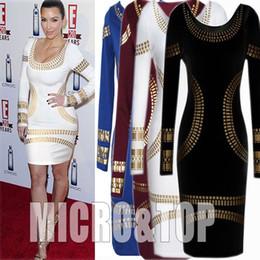 2017 robes moulantes kardashian Robes pour femmes 2015 à manches longues sexy dames Kim Kardashian Celebrity Gold Foil Imprimer femmes été Bodycon Party Pencil Dress Plus Size robes moulantes kardashian à vendre