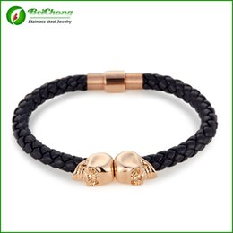 BC Jewelry Free shipping Hot Selling Fashion Mens Genuine Leather Braided Northskull Bracelets Double Skull Bangle BC-002