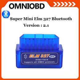 Wholesale 10Pcs SuperMini ELM327 Bluetooth V2 OBD2 II Auto Diagnostic Tool ELM Bluetooth Work ON Android Torque PC DHL