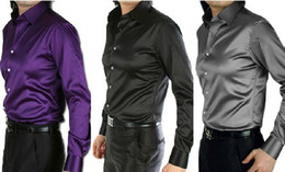 Wholesale-free hipping Autumn and winter male shirt solid color fashion gold silk silks and satins male long-sleeve shirt wedding dress