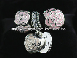 S925 Sterling Silver Charms and Murano Glass Bead Set with Charm Box Fits European Pandora Jewelry Charm Bracelets-Heart Set