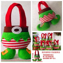 Wholesale Cheap Christmas Table Cloth - Elf and Santa Pants Merry Christmas Table Decoration Spirit Candy Sweet Bag Gift Bags Gift Wrap Party Decoration Top Sale Online Cheap Sale