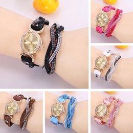 Wholesale Fashion watches women students two tone leather diamond wave layers quartz watch wristwatch bracelet luxury charm jewelry DHL gift