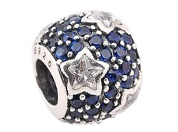 100% Sterling Silver Charms 925 ALE Rhinestone Star European Beads for Pandora Bracelets DIY Beads Free Shipping