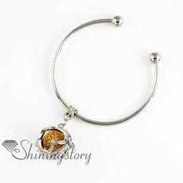flower openwork metal volcanic stone aromatherapy diffuser jewelry essential oil jewelry lava stone beads charm bracelets