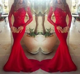 Stunning Long Sleeve Lace Mermaid Evening Dresses Party Wear V-Neck Red Bodice Illusion 2016 Satin Trumpet Sheer Long Prom Pageant Gowns