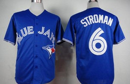 Promotion maillots de sport Populaires Blue Jays # 6 Stroman Baseball Jerseys Toronto Baseball Jersey pour Hommes Sports Jerseys Bleu Baseball Apparel 2015 Baseball Shirts