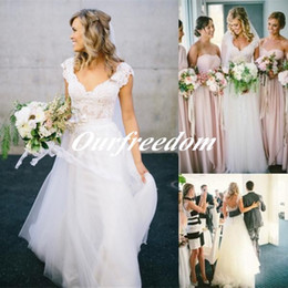 Wholesale Bohemian Spring Summer Wedding Dresses Hot Sale Design V Neck Belt Chic Rustic Beach Country Bridal Gown