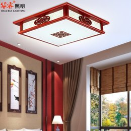 Wholesale square LED ancient chinese style carved sheepskin acrylic creative retro restaurant solid wood wooden lamp indoor ceiling lamp brief villa