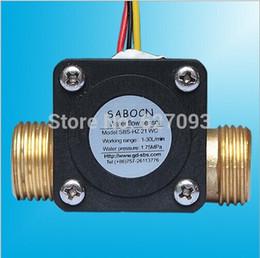 Wholesale G1 quot DC5V Liquid fuel gas water heater flow sensor L min Hall Copper Water control machine flowmeter
