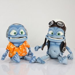 Wholesale Very cute cm crazy frog pet doll Plush Toy with music Wear Clothes blue pilot frog sounding plush Stuffed Toys kids best birthday gift