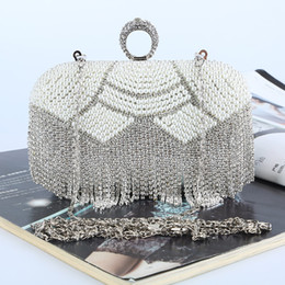 Factory Retaill Wholesale brand new handmade beautiful beaded diamond evening bag with satin pu for wedding banquet party porm(More colors)