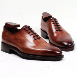 Men Dress shoes Oxfords shoes Custom handmade shoes Men's shoes genuine calf leather Color brown lace-up shoes HD-J035