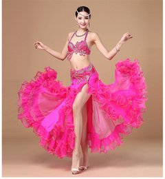 Stage Performance Luxury Belly Dancing 2016 Egyptian Costumes Oriental Style Rhinestone Bra, Belt Belly Dance 2pcs
