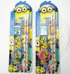 Wholesale minion Stationery Sets Despicable Me School Supplies kids Minions book pencil eraser sharpener ruler Stationery Set