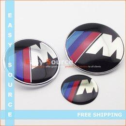 Wholesale emblem chrome New M mm mm mm Car Modified Front Hood Rear Trunk Sticker Steering Wheel emblem Badges For BM